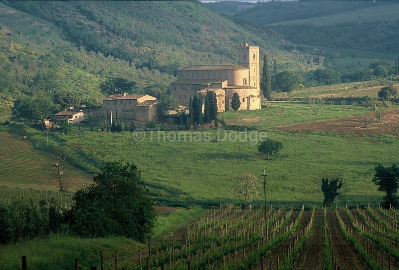 Medieval Monastery, near Montalcino, Tuscany, Italy.