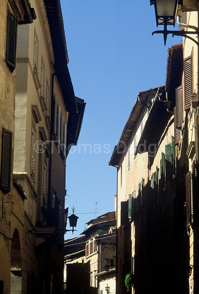 Medieval street, Montepulciano, Italy.