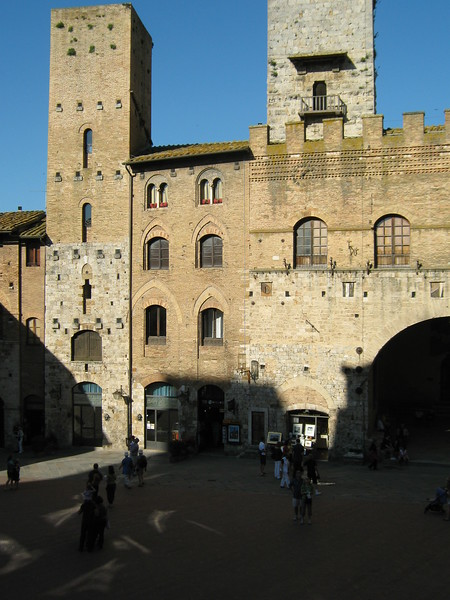 San Gimignano, in Tuscany, town square.
