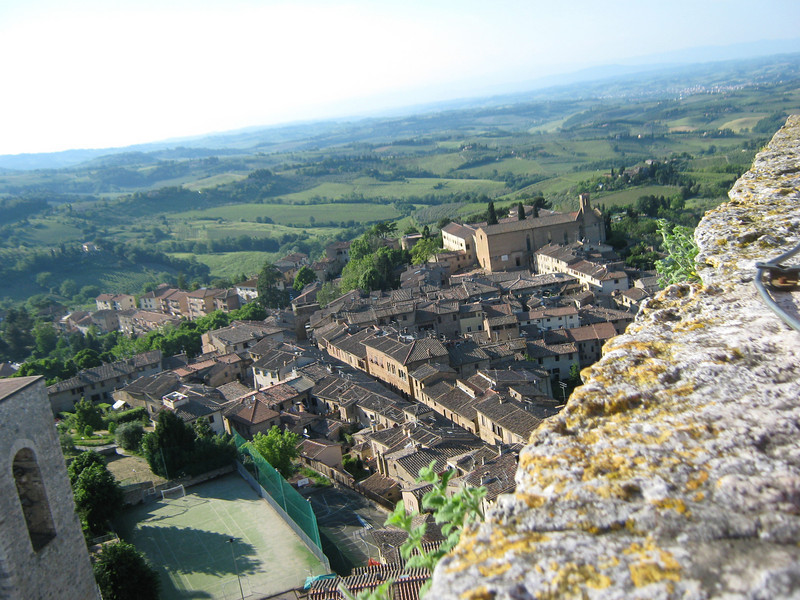 San Gimignano, in Tuscany, view from the tallest tower.