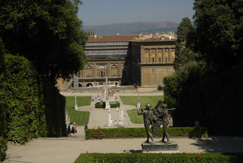 Palazzo Pitti from the top of the gardens.