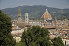 A view of the Duomo Dome (right), its Campanile (centre) and the Campanile of Palazzo Vecchio (left) from the top of the Pitti gardens.
