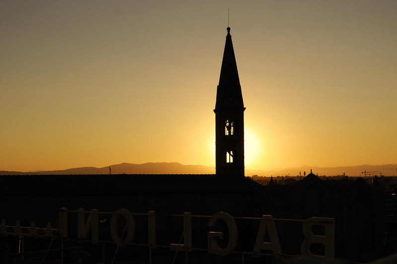 Florence, a spire from the roof of the Baglioni Hotel at sunset.