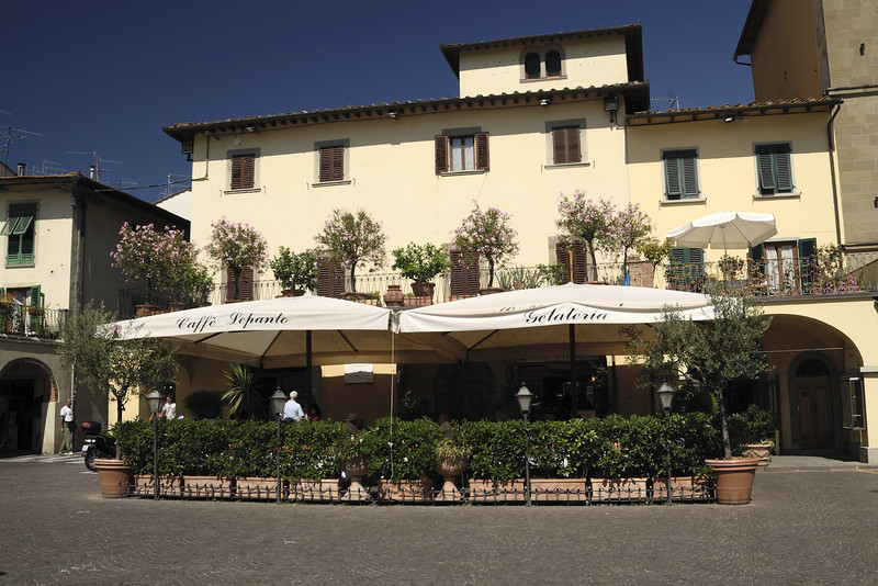 The cafe in the villsge of Greve in Chianti, central Tuscany.