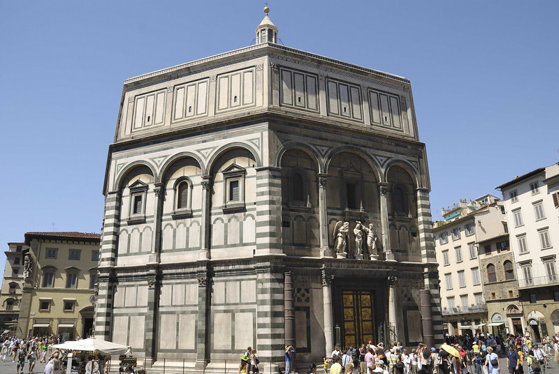 The Baptistry (1425) with the shallow relief doors, Duomo, Florence.