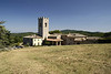 Badia a Coltibuono, the Romanesque abbey church and its mighty campanile, 11th century,central Tuscany.