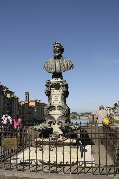 Bust of Cellini (1500-1571), the most famous Florentine goldsmith, on the Ponte Vecchio.