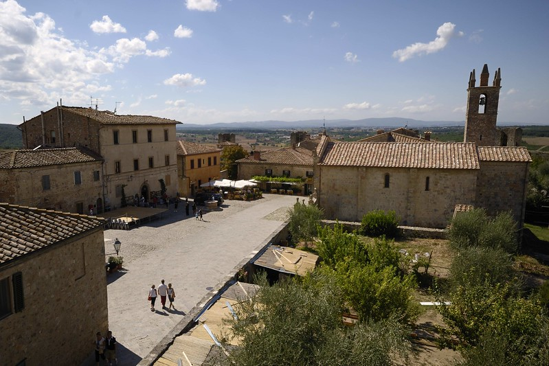 The central piazza in the fortified town of Monteriggioni, central Tuscany
