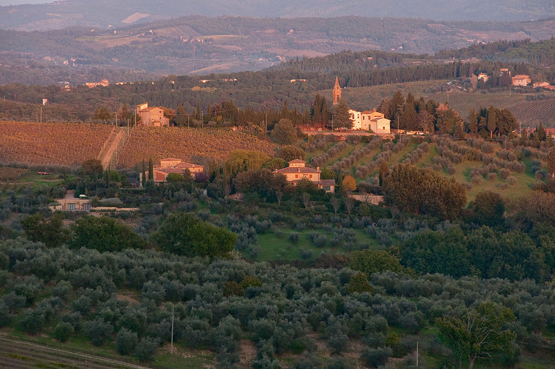 Late afternoon sun recedes from the landscape looking east over the Tuscan landscape from Barbarino Val d'Elsa.