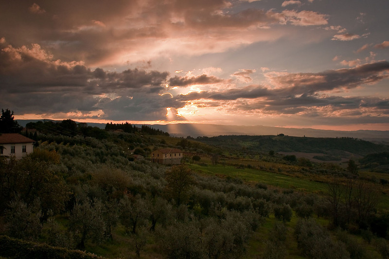 Tuscan countryside at sunset looking west from the village of Barbarino Val d'Elsa.