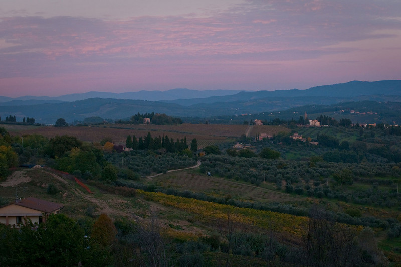 Evening twilight over the Tuscan landscape.