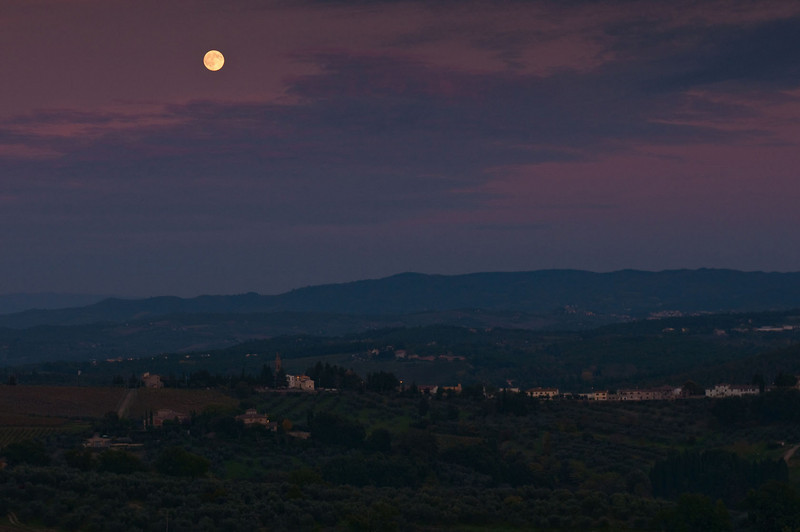 Night in Tuscany - full moon rising looking east from Barbarino Val d'Elsa.