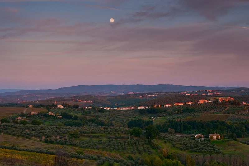 Late autumn afternoon, complete with moonrise, looking east over the Tuscan landscape from Barbarino Val d'Elsa.
