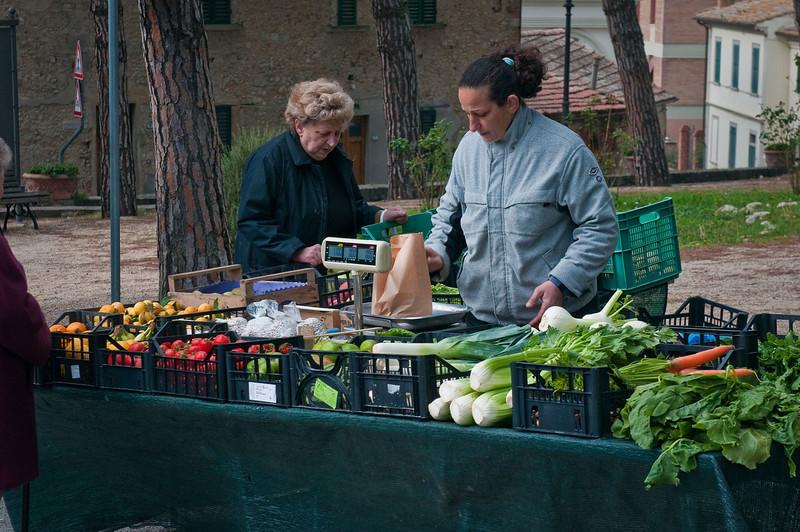 "Saturday ""market"" in Barbarino Val d'Elsa.  Different villages in the region had different market days."