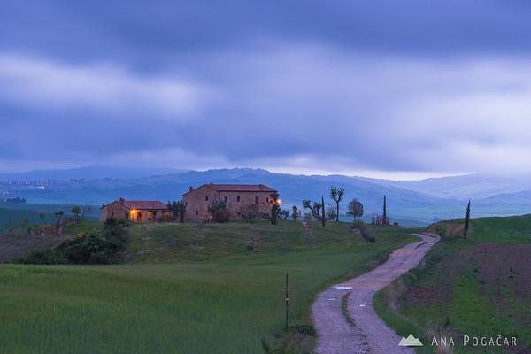 Countryside near Pienza on a rainy morning