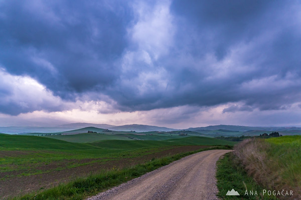 Countryside near Pienza on a stormy evening
