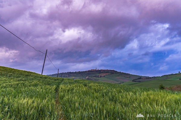 Pienza on a stormy evening