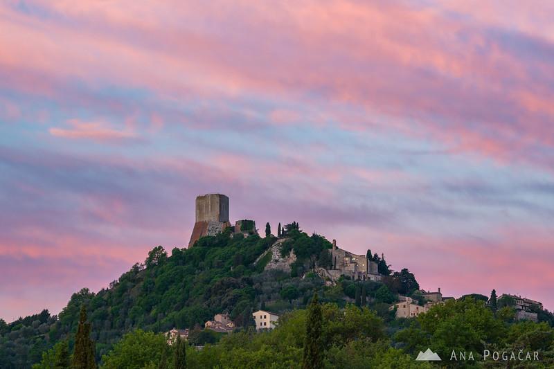 Pink sunrise over Castiglione d'Orcia