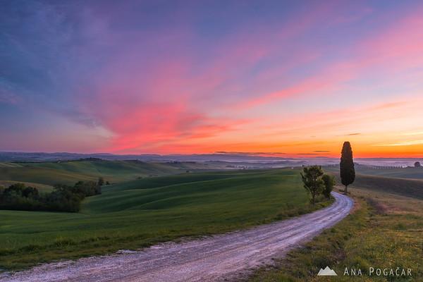 Colorful sunrise at Villa Corsano
