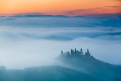 Amazing sunrise in countryside of Tuscany, Italy