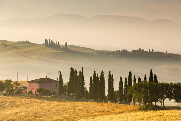 Sunrise near San Quirico d Orcia, Tuscany, Italy, 2014
