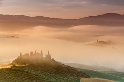 Sunrise in countryside of Tuscany