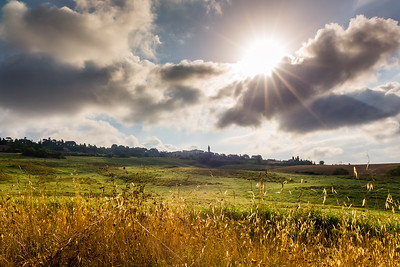 Scenic cityscape of Pienza after sunrise, Tuscany, Italy