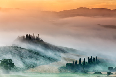 Amazing sunrise in countryside of Tuscany, Italy, 2014