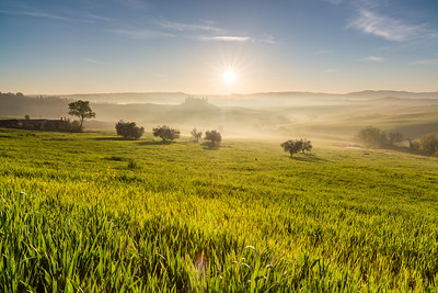 Bright tuscan sunrise