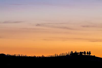Tuscan sunset silhouette