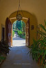 Entryway from gardens, Vignamaggio winery, Chianti region, Tuscany, Italy