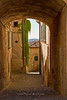 Arched narrow street in Radda, Chianti region of Tuscany, Italy