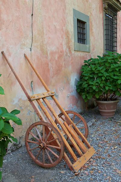 Old grape cart, Vignamaggio winery, Chianti region, Tuscany, Italy