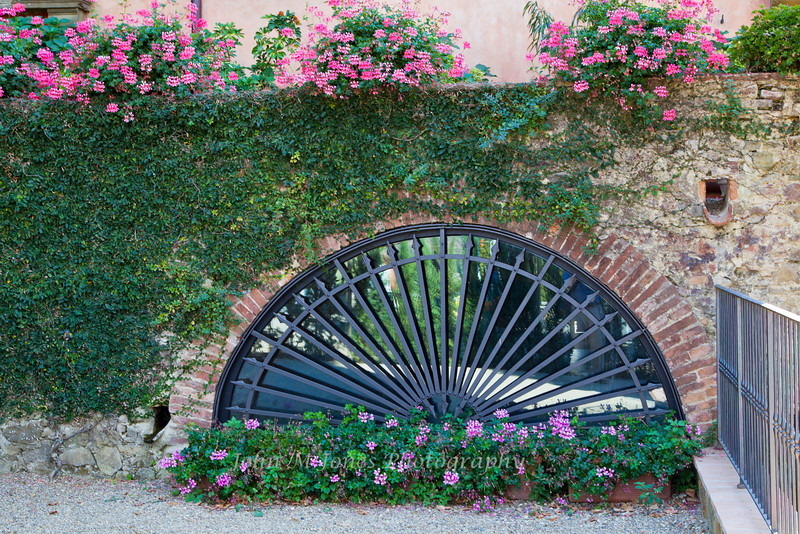 Arched window and ironwork, Vignamaggio winery, Chianti region, Tuscany, Italy