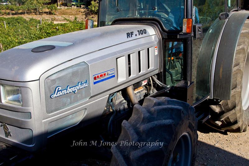 Lamborghini tractor, Vignamaggio vineyards, Chianti region, Tuscany, Italy