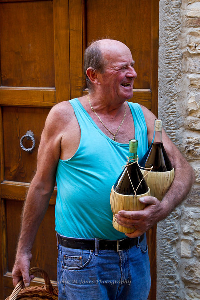 Happy man in Montefioralle, Tuscany, Italy