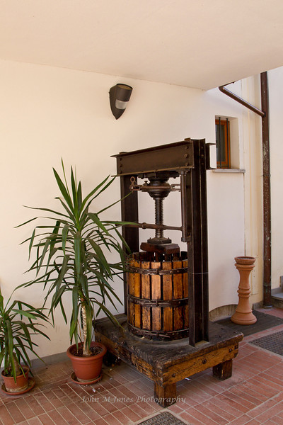Antique grape press in Greve in Chianti, Tuscany, Italy