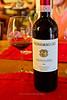 Chianti Classico wine bottle and glass, Vignamaggio winery, Chianti region, Tuscany, Italy