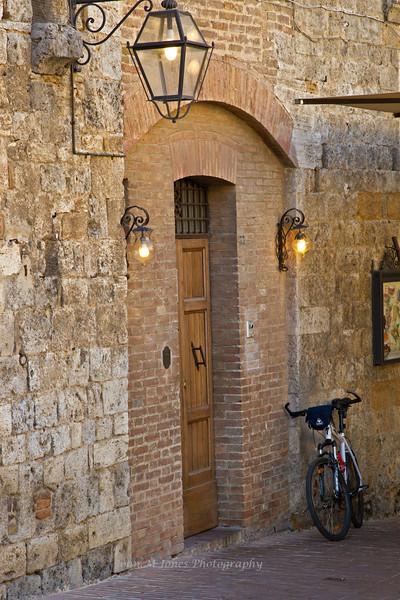 Lighted doorway, San Gimignano, Tuscany, Italy