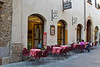 Sidewalk seating, San Gimignano, Tuscany, Italy