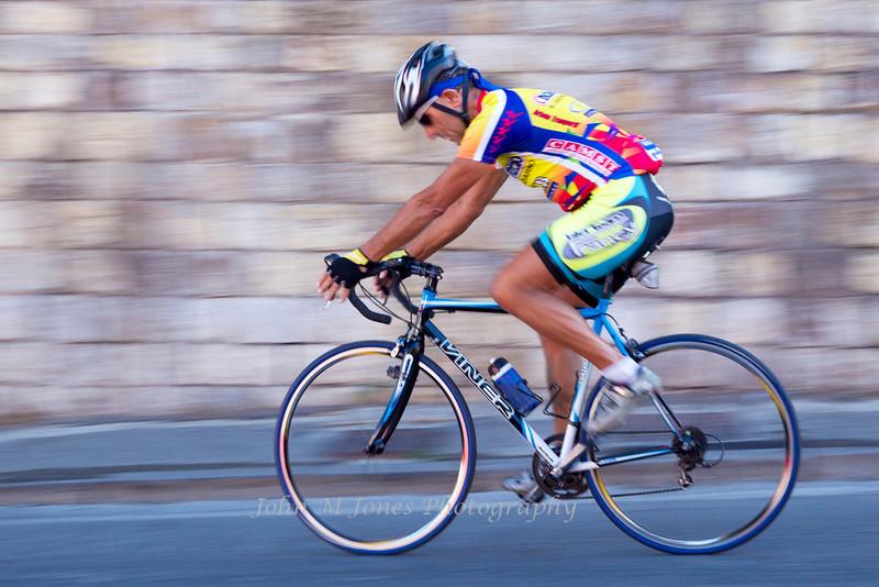 Bicyclist in Panzano, Chianti region of Tuscany, Italy