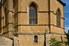 Cathedral of Pienza with bullet holes from World War II, Siena, Tuscany, Italy
