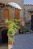 Courtyard and entryways in Vertine, Chianti region of Tuscany, Italy