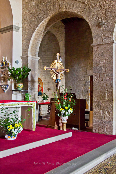 Altar in Pieve di San Leonlina, a small Romanesque church near Panzano, Tuscany, Italy