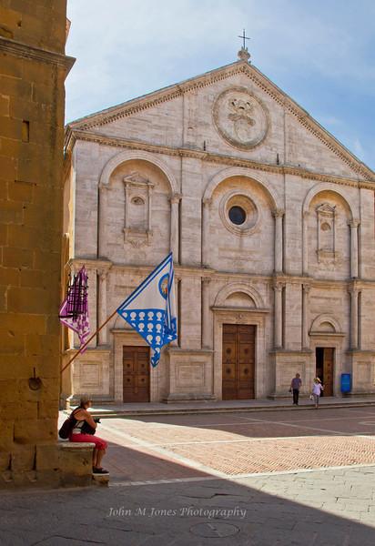 Façade of Cathedral of Pienza, Siena, Tuscany, Italy