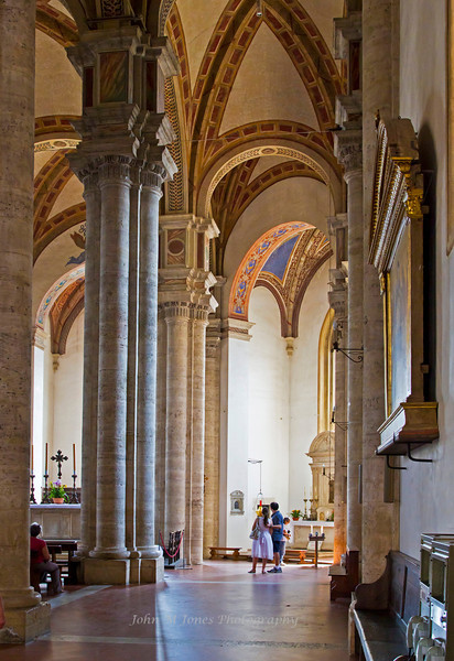 Side aisle of the Cathedral of Pienza, Siena, Tuscany, Italy