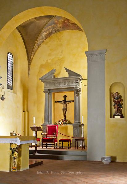 Altar of the Church of San Niccolo in Radda, Chianti region of Tuscany, Italy