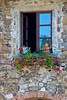 Angel in window, villa near Radda, Chianti region of Tuscany, Italy