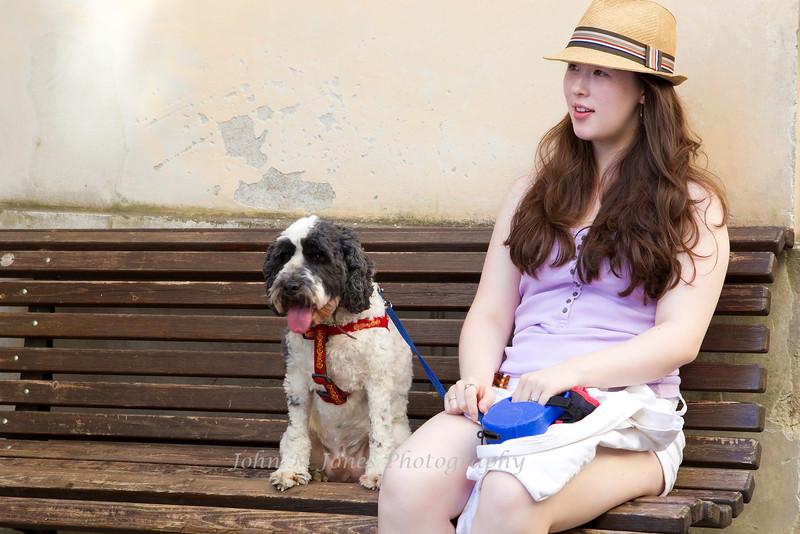 Girl and Dog in Radda, Chianti region of Tuscany, Italy