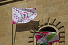 Flags on the Palazzo del Comune in Greve, Tuscany, Italy